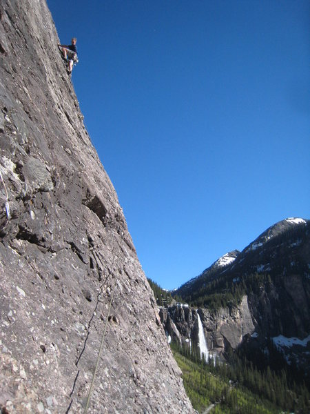 Rock Climbing Photo: The third pitch offers amazing position with grand...