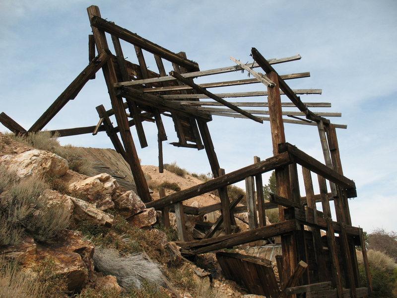 The main headframe of the Lucky Baldwin Stamp Mill, Big Bear