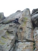 Rock Climbing Photo: Fun steep climbing leads to a thin crack on the up...
