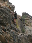 Rock Climbing Photo: Clipping the chains on Blurry (5.8), 8000 Foot Cra...