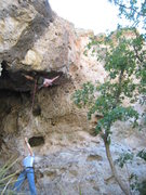 """Rock Climbing Photo: Can you say """"overhanging?"""" Pogue's Arete..."""