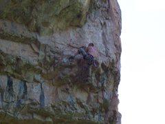 Rock Climbing Photo: Ian beginning the final crux.