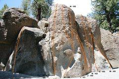 Rock Climbing Photo: Deadman I, Center Block - Center Topo
