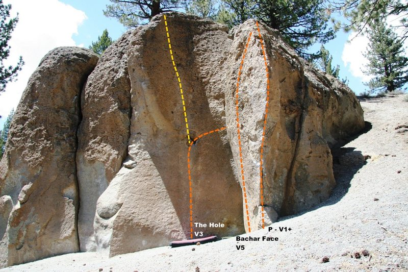 Rock Climbing Photo: Deadman I, Center Block - Right Topo