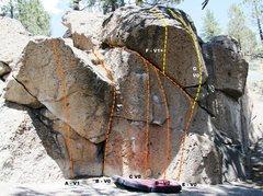 Rock Climbing Photo: Deadman I, Right Wing - Left Topo