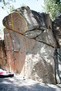 Rock Climbing Photo: Deadman I, Right Wing - Center Topo