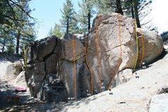 Rock Climbing Photo: Deadman I, Right Wing - Right Topo