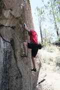 Rock Climbing Photo: Starting up the pocketed wall on Problem J, V1