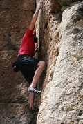 Rock Climbing Photo: Pulling through on the small crimps on Problem J, ...