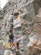 Rock Climbing Photo: Dave at the start of Community Service (5.10a), 80...