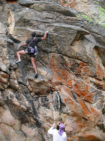 Rock Climbing Photo: Clipping the second bolt on Keep Hope Alive (5.10b...