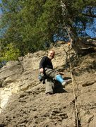 Rock Climbing Photo: Randy climbs Double Overhang, one foot in a cast.