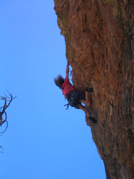Rock Climbing Photo: Dylan Cooper over-styling the finish of Johnny Rot...