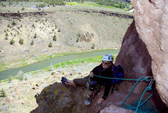 Rock Climbing Photo: Sarah relaxing at our belay at the top of pitch on...