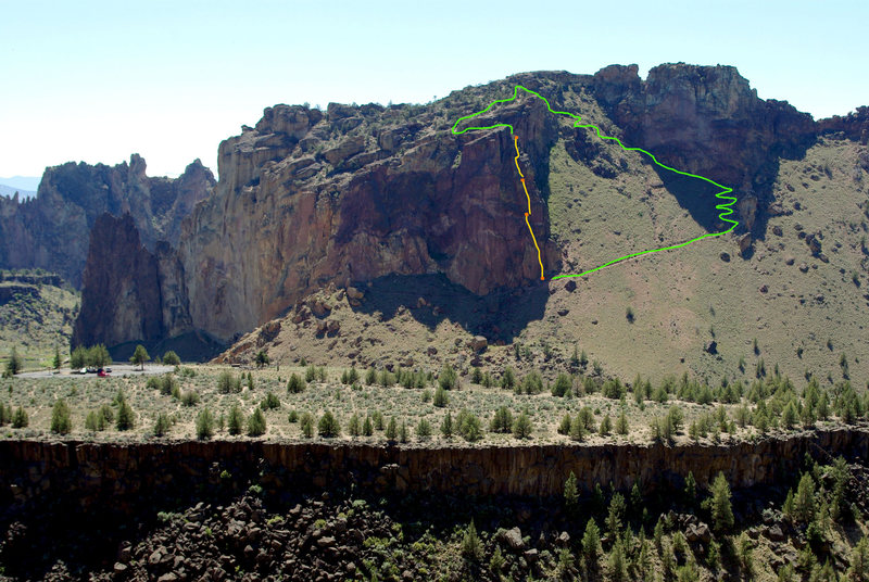 Moscow (5.6) on the Red Wall as seen from across the way by Staender Ridge. Yellow lines are the 3 pitches we climbed, and the green line is the 4th class scramble and then the regular trail back to the base.