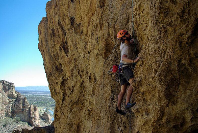 Rock Climbing Photo: Matt starting up the steep, but juggy, 5.6 first p...