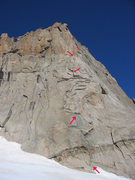East Prow route.  Arrows show the start and pitch 1-4 belays as described by Rossiter.
