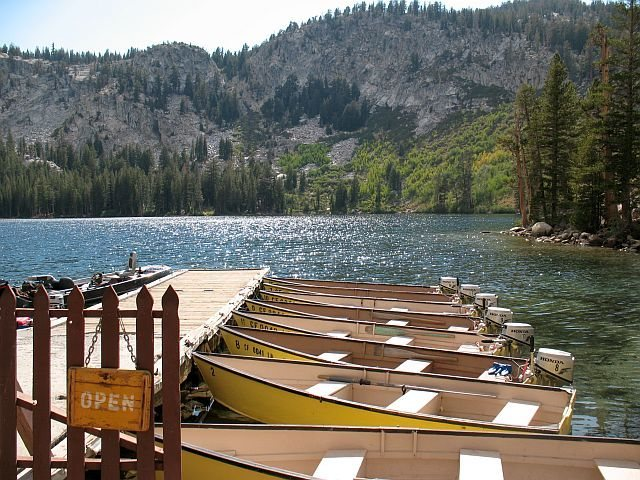 Boat dock at Lake George, Mammoth Lakes Basin<br>