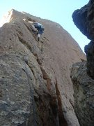 Rock Climbing Photo: Mark D. leading just below the crux of Catherine F...