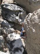 Rock Climbing Photo: Jeffy having fun on Old's Cool (V-easy), Tramway
