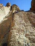 Rock Climbing Photo: Sarah near the top of the first pitch of Bunny Fac...