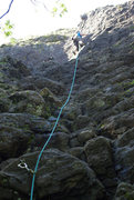 Rock Climbing Photo: Sarah leading Giant's Staircase, 5.6. Wet & muddy ...