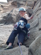 Rock Climbing Photo: Michelle having fun on her first trad lead.