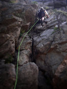 Rock Climbing Photo: Ryan on the 5.5 West Face of Castle rock. This ima...