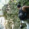 Scott Begins a crusty traverse under Ozzie's Point