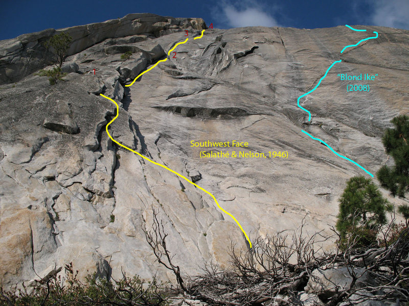 Rock Climbing Photo: The lower pitches of the Southwest Face route.