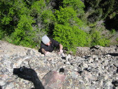 Rock Climbing Photo: Mcrae Williams nearing the top of the first pitch