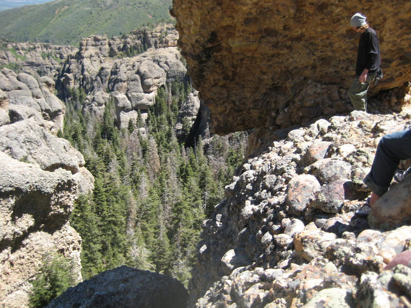 "looking down at the 1st two pitches from ""camp blessing"". the top of p1 is in the bottom left."