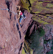 Rock Climbing Photo: Megan follows p2 and she is in perfect form for th...