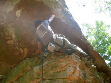 Rock Climbing Photo: Moving into the crux