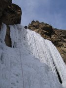 Rock Climbing Photo: Joe leads Jaws, this ice formation fell off one we...