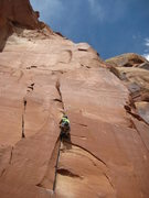 Rock Climbing Photo: Finishing up wide hands.  Anchor visible up and ri...