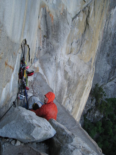 Rock Climbing Photo: Tim Triche in the haulbag bivy on the Ahwahnee led...