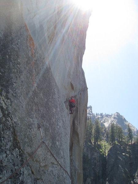 Rock Climbing Photo: Tim leading the awkward pitch 5 ramp.