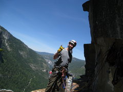Rock Climbing Photo: Great final bivy ledge before the easy fourth clas...