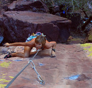 Rock Climbing Photo: Laurel is two moves from the crux on the first pit...