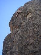 Rock Climbing Photo: Angelina on the fun finishing moves of Lost Orbit.