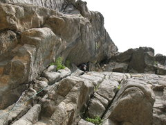 Rock Climbing Photo: John Knoernschild leading Baley's Overhang. Pictur...