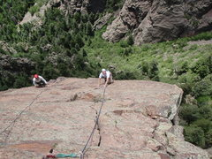 Rock Climbing Photo: Mike finishing the second pitch of Rawhide while a...