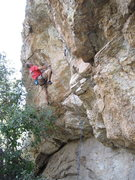 Rock Climbing Photo: Vince Bates at one of the crux moves below the roo...