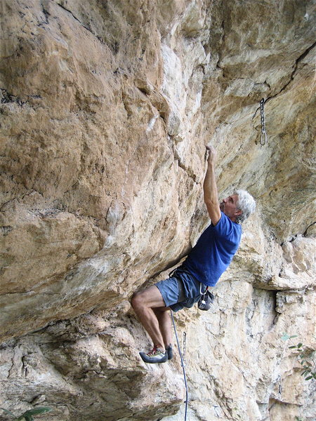 Rock Climbing Photo: Jimbo making his way to the third clip.  It looks ...