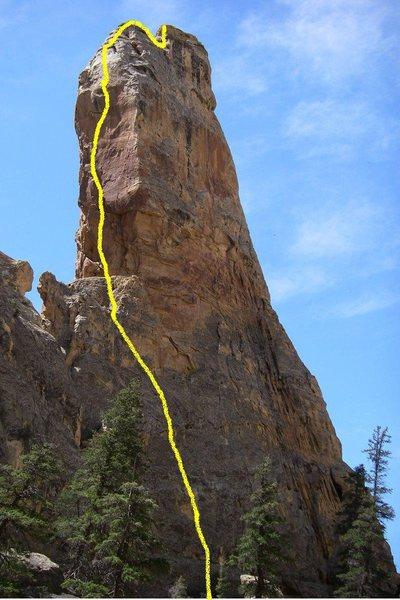 Rock Climbing Photo: Line topo of Brittle Power