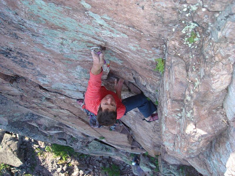 Rock Climbing Photo: Perfect pin protects precarious protuberance.