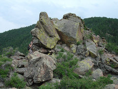 Rock Climbing Photo: Steve at a cool rock formation on the top of Lover...