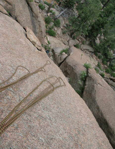 looking down from the first belay