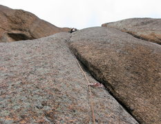 Rock Climbing Photo: Todd on pitch 3, racing what seemed to be an incom...